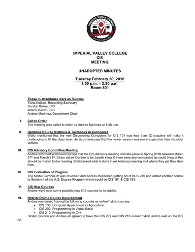 CIS Meeting 2-20-18