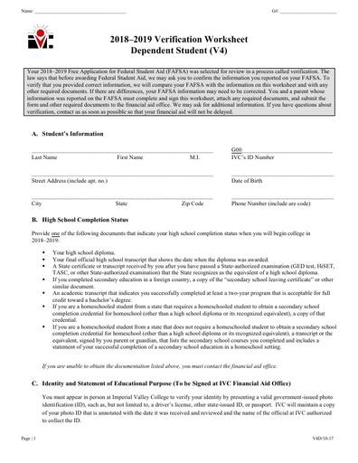 V4 Dep Verification Worksheet 18-19