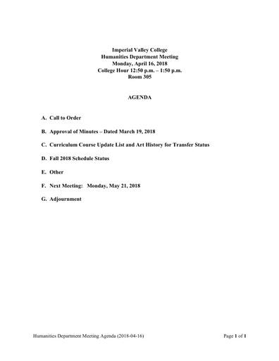 Agenda Humanities Department Meeting 2018 04 16