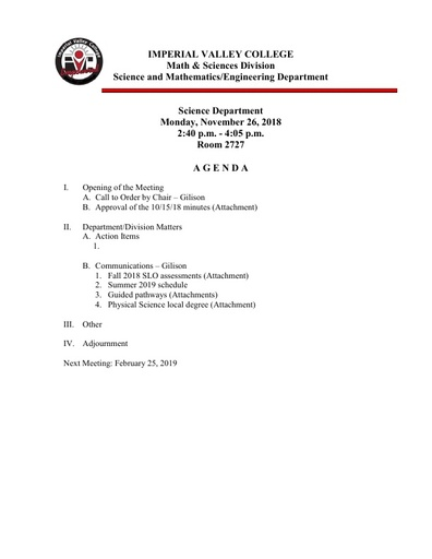 2018-11-26 SME Science Agenda