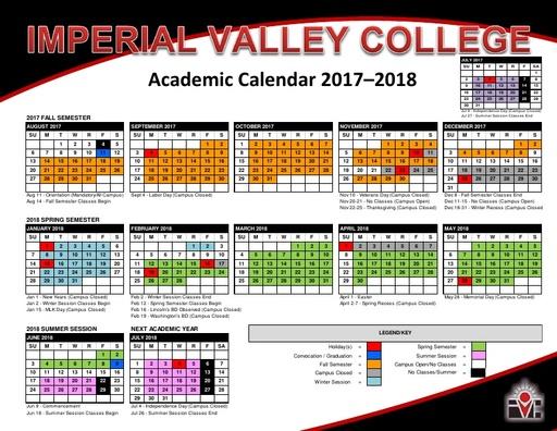 2017-18 IVC Academic Calendar
