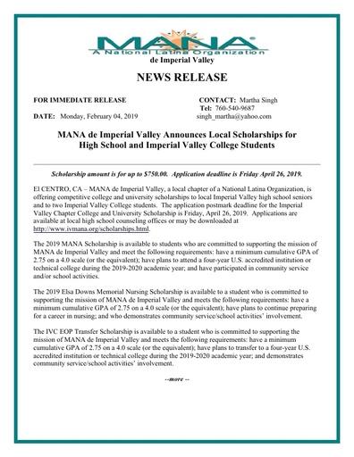 MANA News Release 2019-02-04