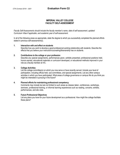 CTA Contract 2018 2021 Evaluation Form C2