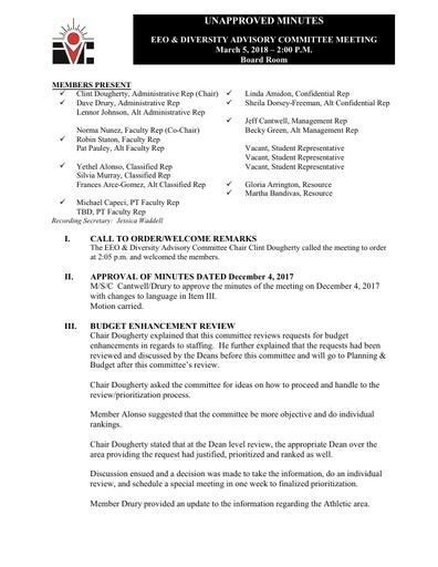 EEO & Diversity Advisory Committee Minutes 03/05/18