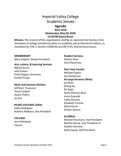 Agenda Academic Senate 2018-05-02