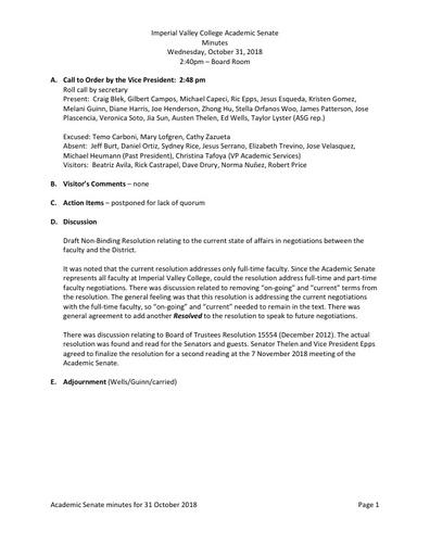 Academic Senate minutes 2018-10-31