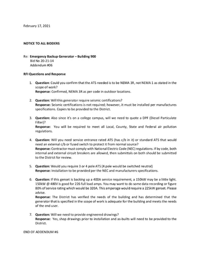 Informal Bidding Bid No. 20-21-14 Emergency Backup Generator (Bldg 900) - Addendum #6 RFI Responses