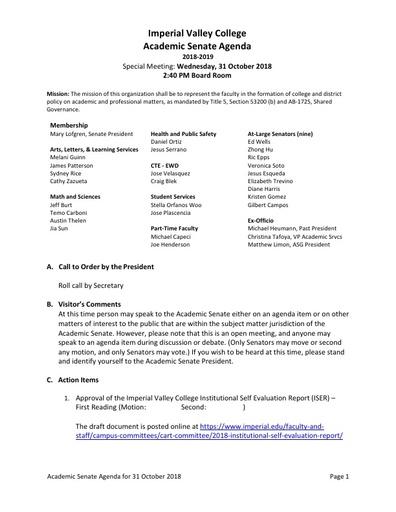 Academic Senate agenda 2018-10-31