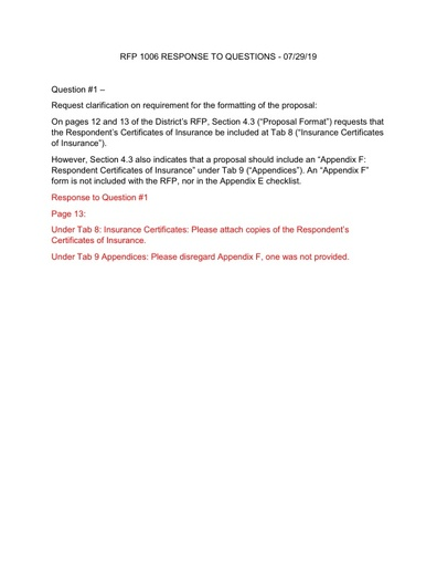 RFP No. 1006 RESPONSE TO QUESTIONS - 2019-07-29