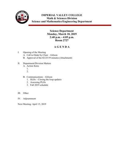 2019-03-18 SME Science Agenda
