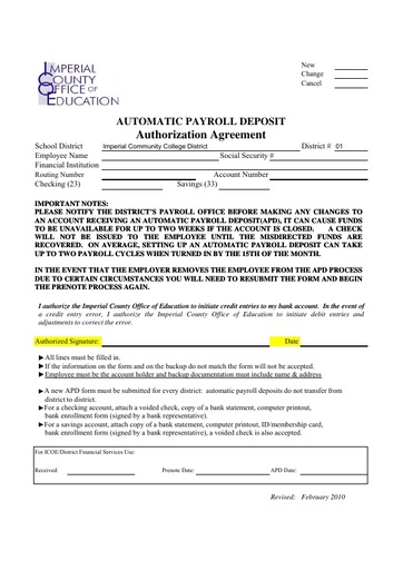 Form - Direct Deposit for student payroll