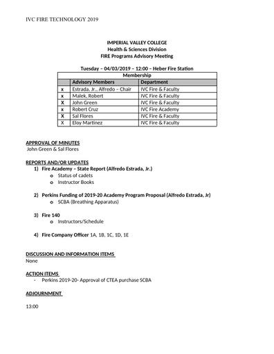 2019 04-03-2019 Fire Technology Program Advisory Meeting - Agenda