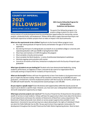 21-22 Imperial County Fellowship Scholarship Information for Applicants