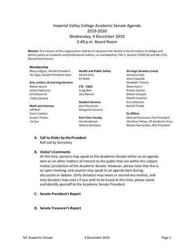 Academic Senate agenda 2019 12 04
