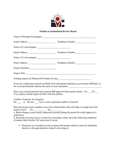 IRB Request Form
