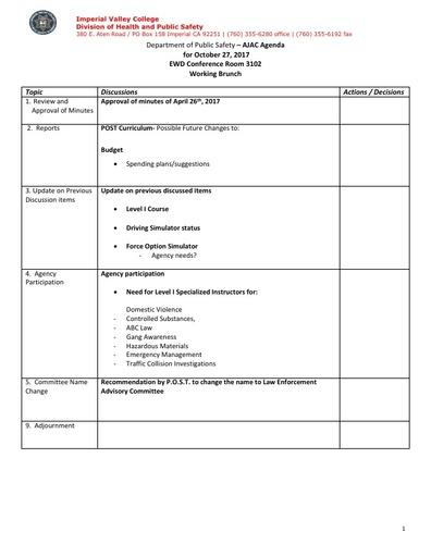 2017_10_27 Administration of Justice Program Advisory Committee Meeting Agenda