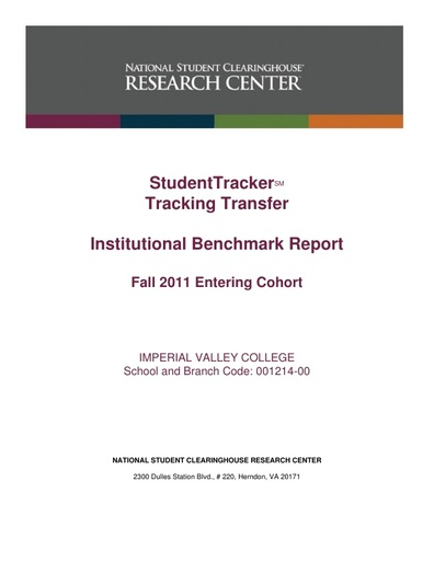 Transfer Track Report Fall 2011 to Fall 2017  Cohort