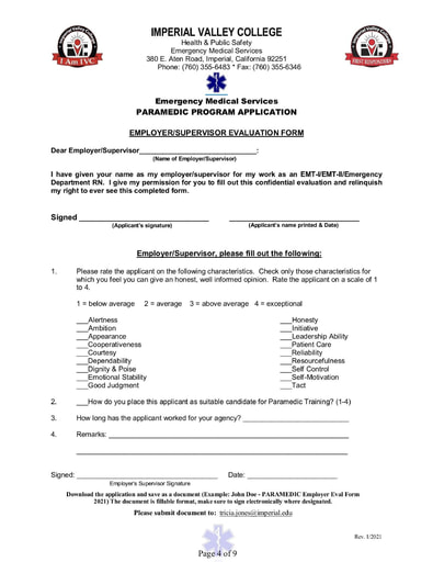 Paramedic Application Supervisor Evaluation Form