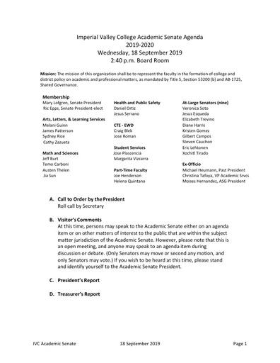 Academic Senate agenda 2019 09 18