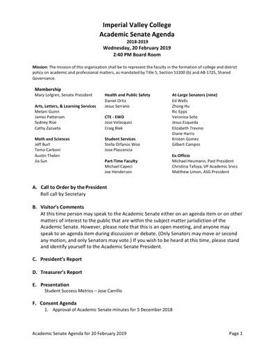 Academic Senate agenda 2019 02 20