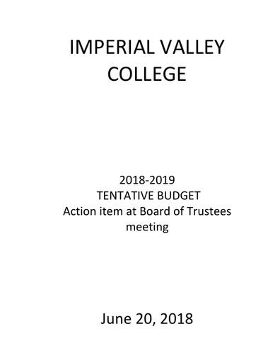 2018 19 Tentative Budget