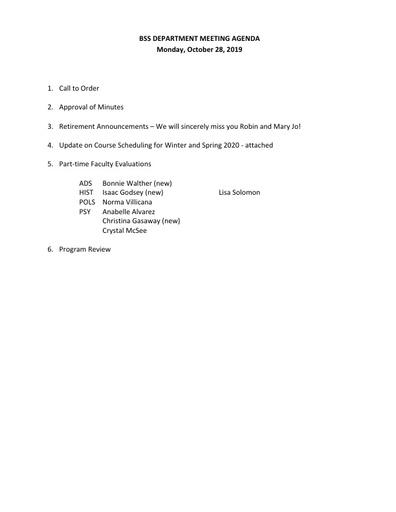 Agenda BSS Dept Mtg 10 28 19