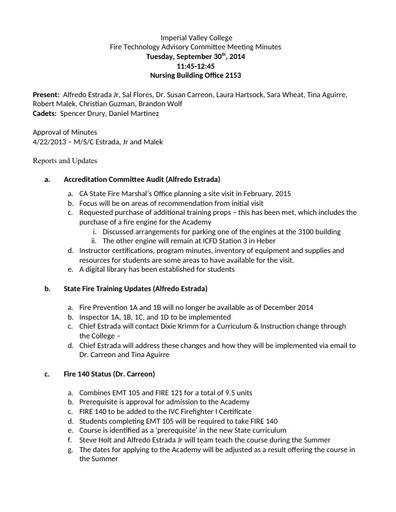 2014-09-30 Fire Technology Program Advisory Committee Agenda