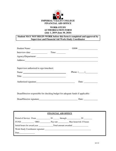 Work-Study Authorization Form