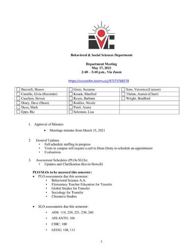Agenda BSS Dept Mtg 5 17 2021