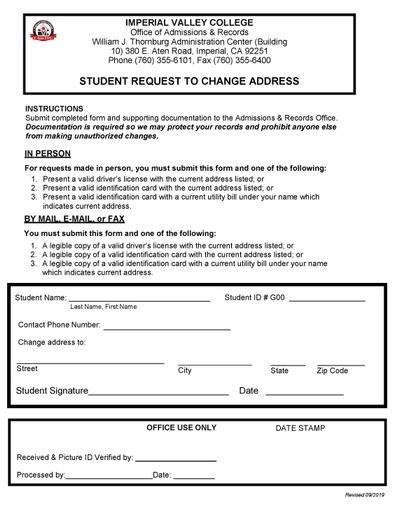 change of address form pdf