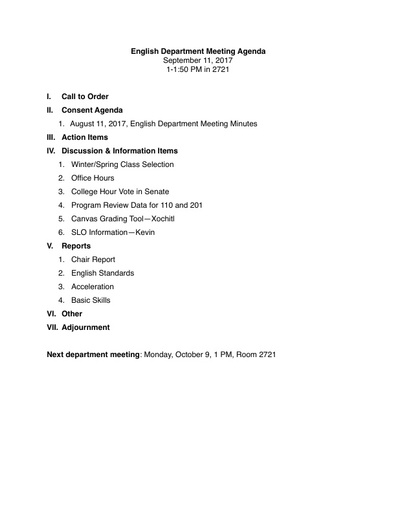 Agenda English Department 2017 09 11
