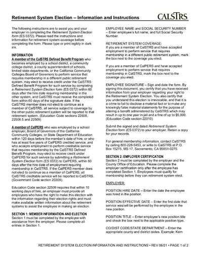 CalSTRS Retirement System Election ES372 (Rev. 6/2021)