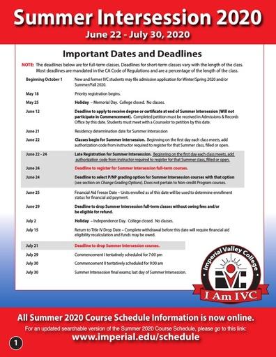 2020-06-22 - IVC Summer Schedule
