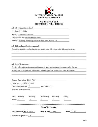 Student Assistant-Admissions and Records Department