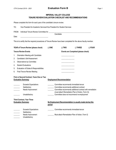 CTA Contract 2018 2021 Evaluation Form B