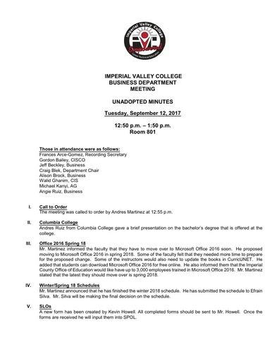 2017-09-12 Business Department Meeting Minutes