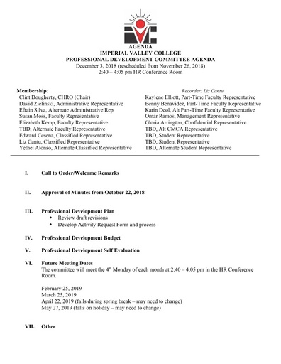 Professional Development Committee Agenda & Meeting Notes 12 03 18