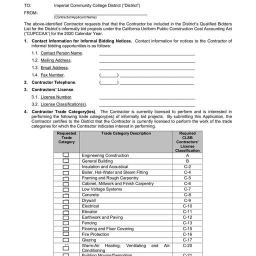 IVC Informal Bidding Qualified Bidders List Application 2019