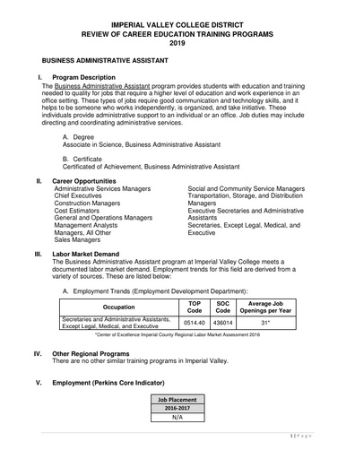 Business Admnistrative Assistant