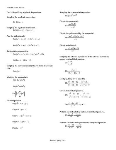 Math 81 Final Exam Review