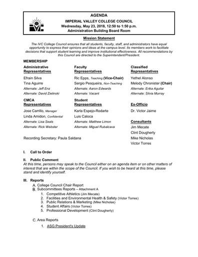 Agenda College Council 2018-05-23
