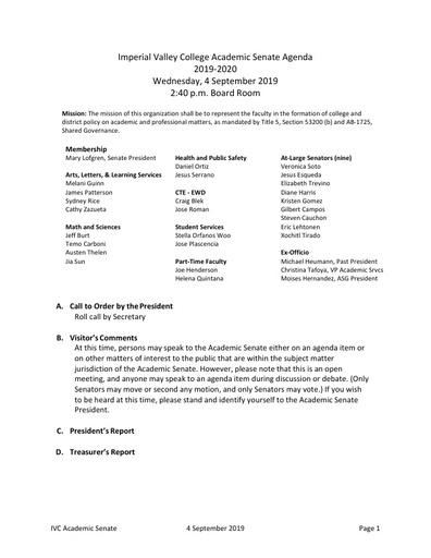 Academic Senate agenda 2019 09 04