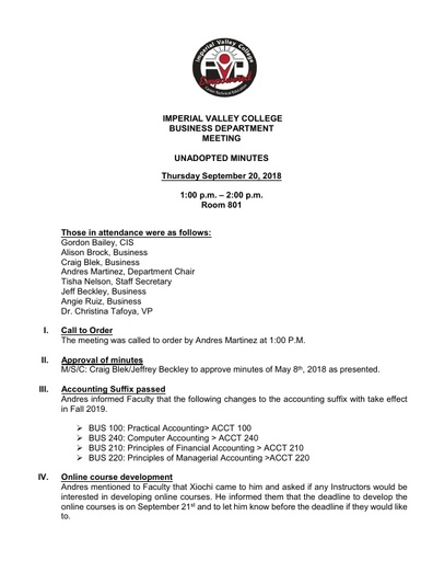 Business Dept Meeting 9-20-18