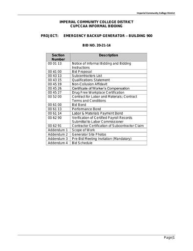 Informal Bidding Bid No 20-21-14 & Contract Docs for Emergency Backup Generator (Bldg. 900)