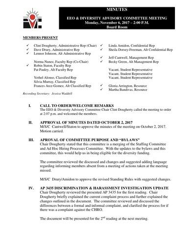 EEO & Diversity Advisory Committee Minutes 11/06/17