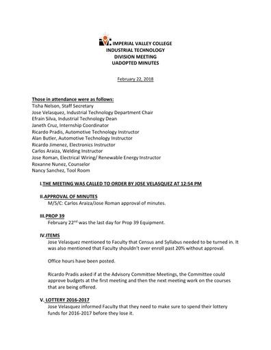 Industrial Tech Dept Meeting Minutes 2-22-18