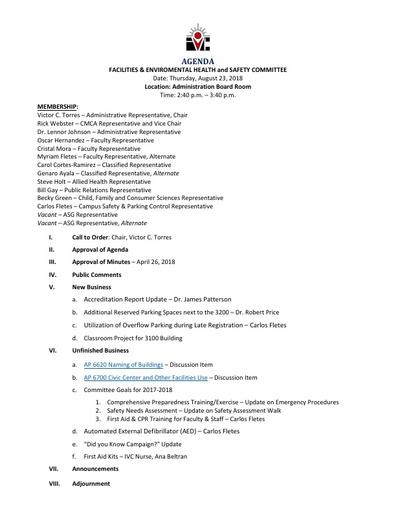 Agenda FEHSC 2018 08 23