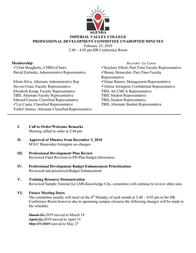 Professional Development Committee Unadopted Minutes 2 25 19