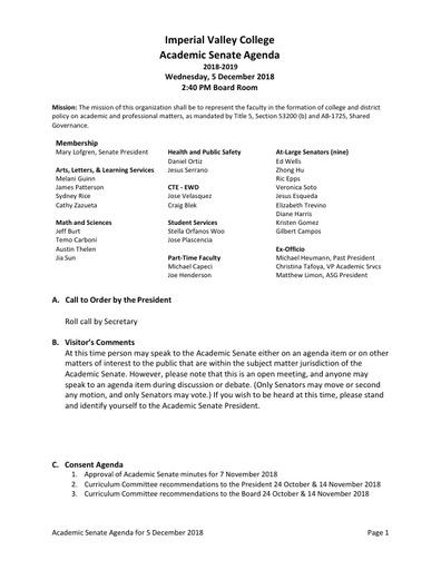 Academic Senate agenda 2018-12-05