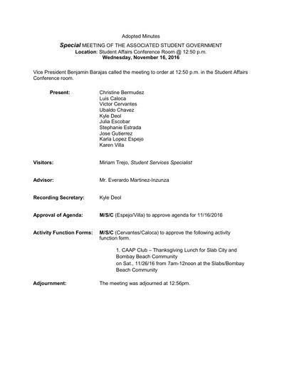 ASG Minutes 2016 11 16 Special Mtg